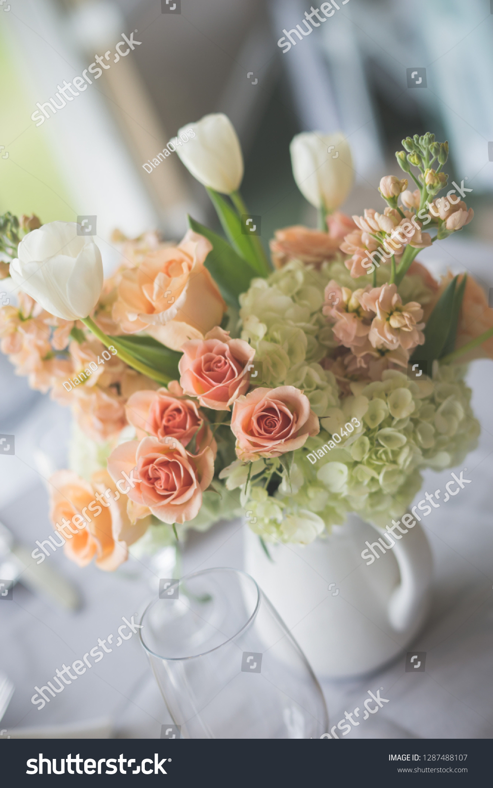 Beautiful Peach White Green Flower Arrangements Stock Photo Edit Now 1287488107