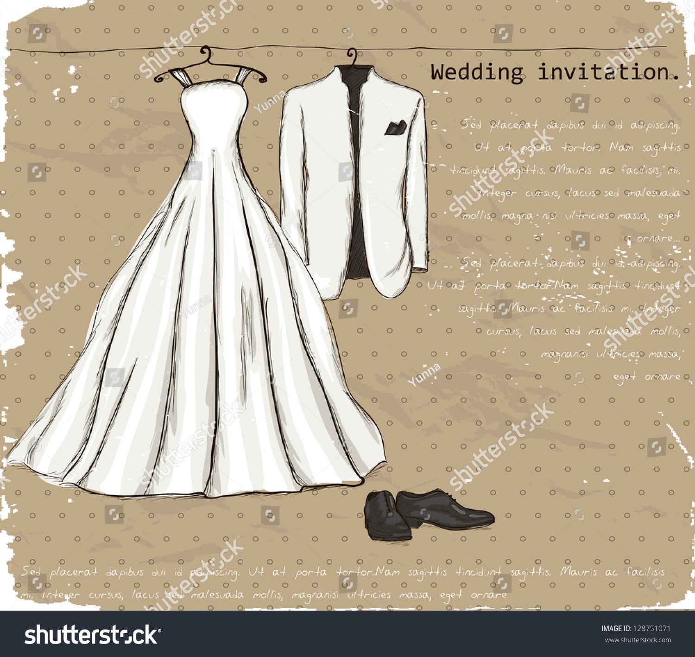 Vintage Poster Wedding Dress Tuxedo Vector Stock Vector (Royalty ...