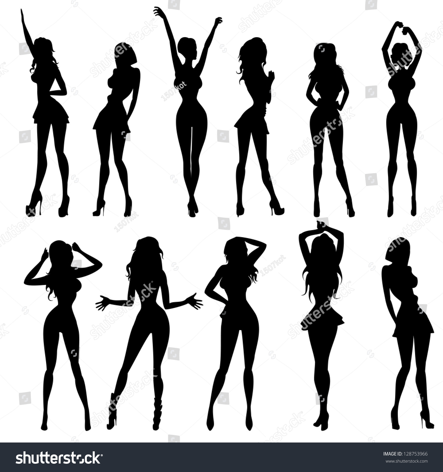 Anime models in different poses vector illustration