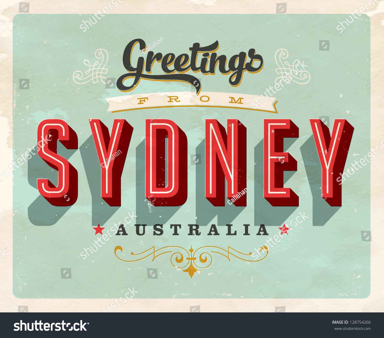 Vintage touristic greeting card sydney australia stock