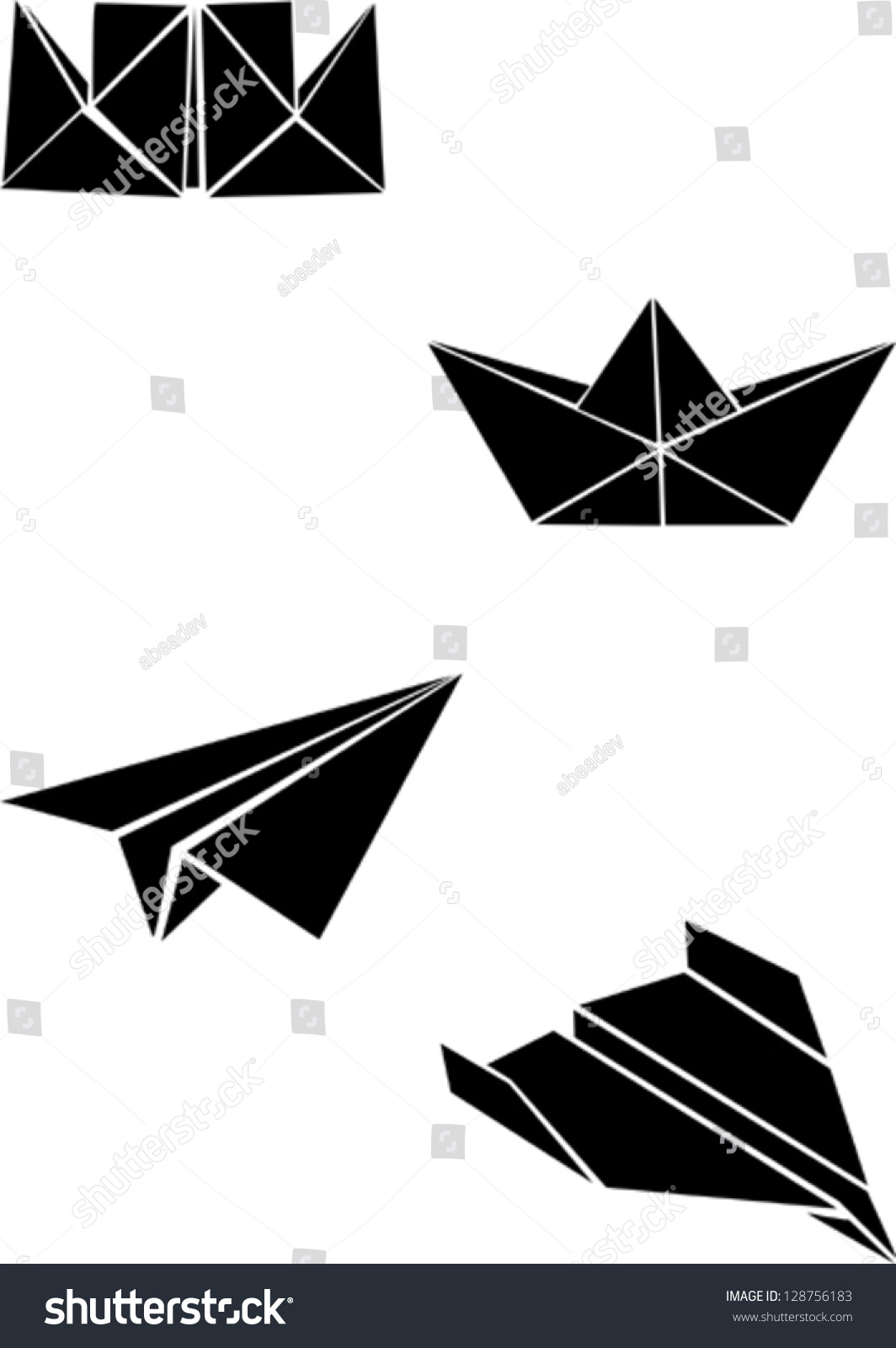 Origami Paper Boats Planes Stock Vector 128756183 ...