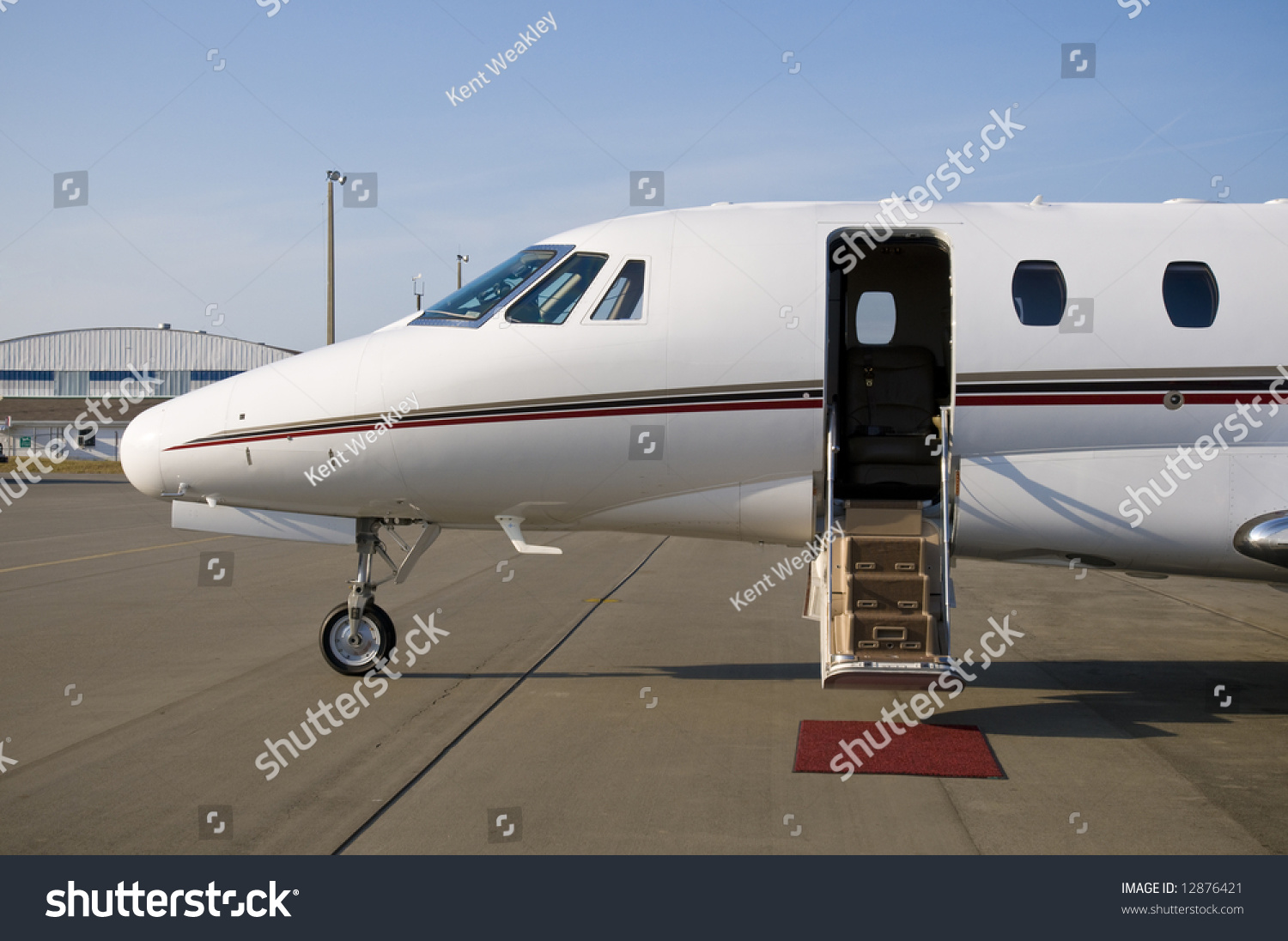Corporate private luxury jet at airport door open & Corporate Private Luxury Jet Airport Door Stock Photo 12876421 ... Pezcame.Com