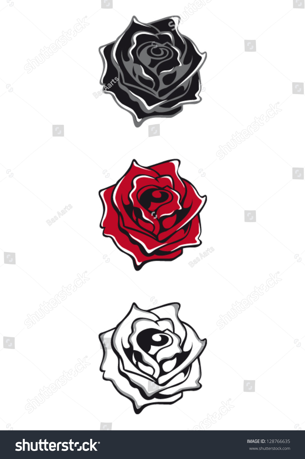 Tattoo flash isolated vector roses black stock vector for Vector tattoo sleeve