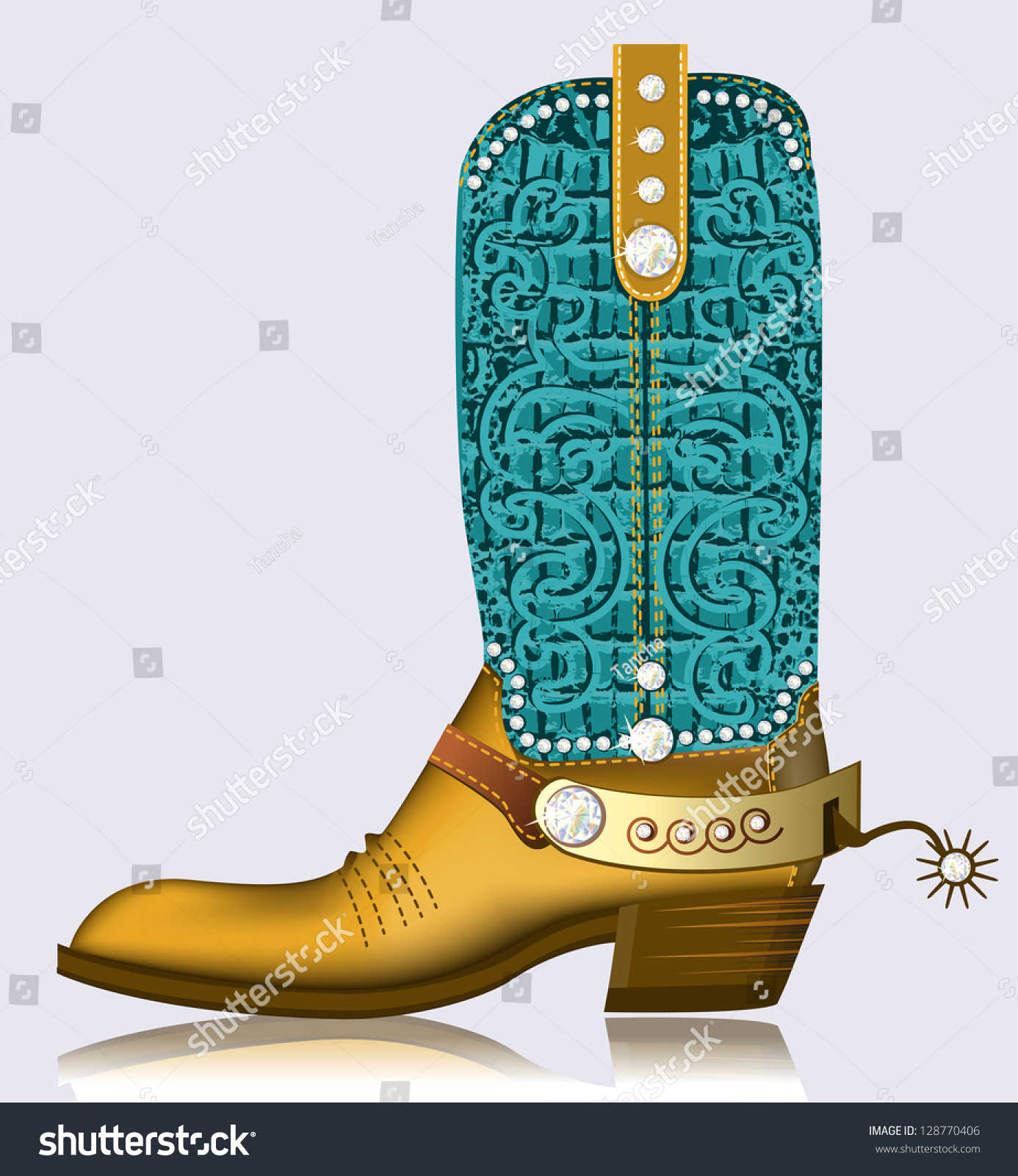 Cowboy Boot Spurluxury Shoe Diamonds Decoration Stock Vector ...
