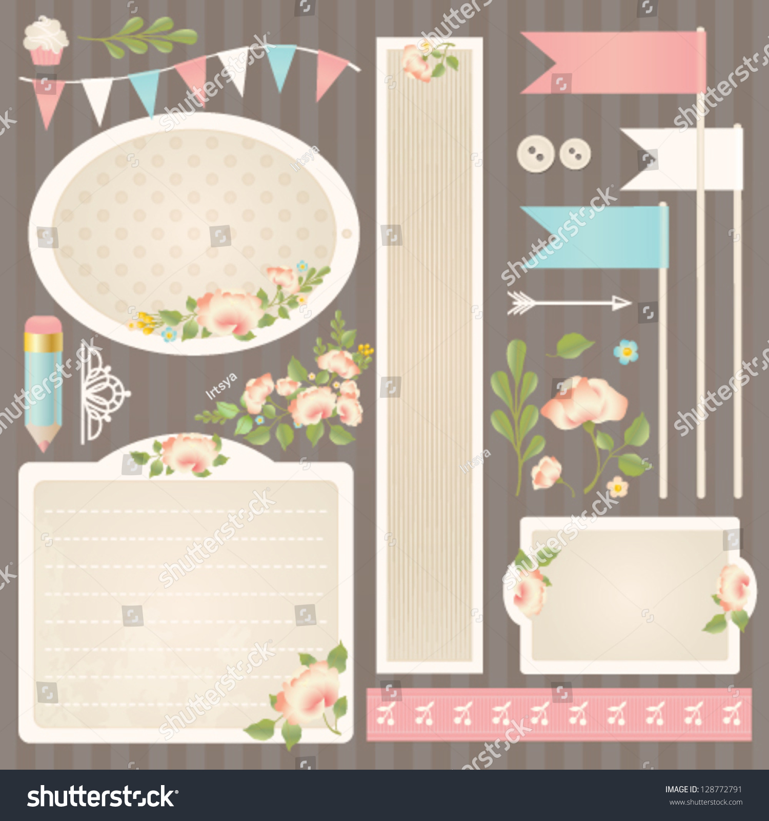 Shabby Chic Design Elements Collection Vector Stock Vector