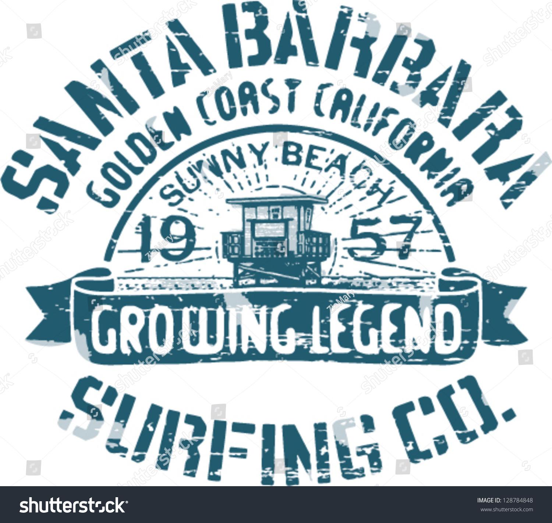 Santa barbara surfing artwork t shirt stock vector for T shirt printing santa barbara