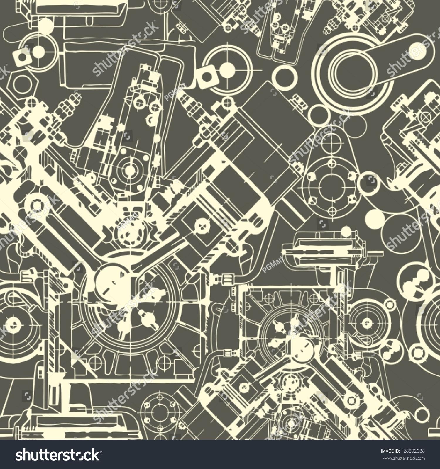 Drawing Engine Seamless Pattern  Background  Seamless Pattern Can Be Used For Wallpaper  Pattern