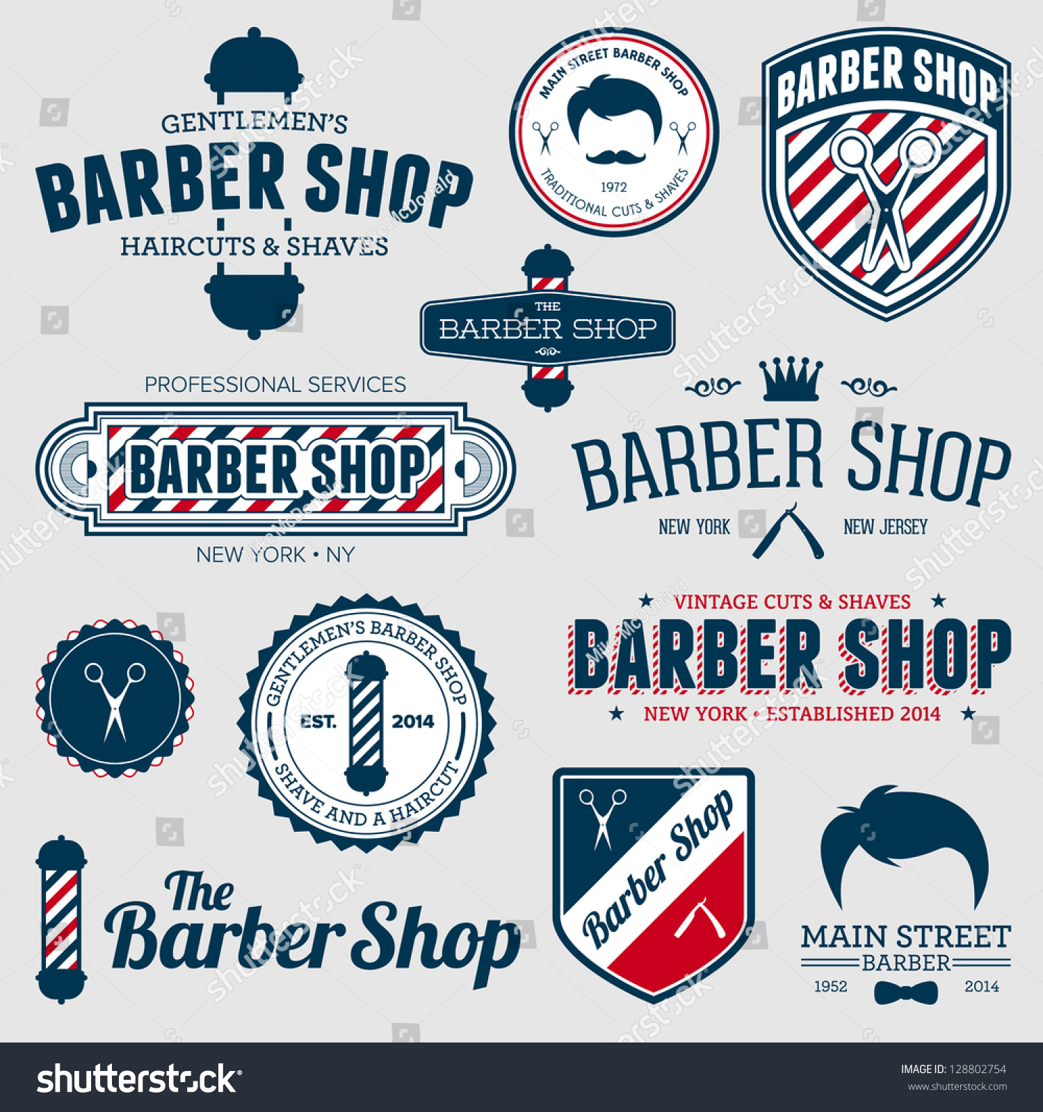 Clip art vector of vintage barber shop logo graphics and icon vector -  Vectors Illustrations Footage Music Set Of Vintage Barber Shop Logo Graphics And Icons