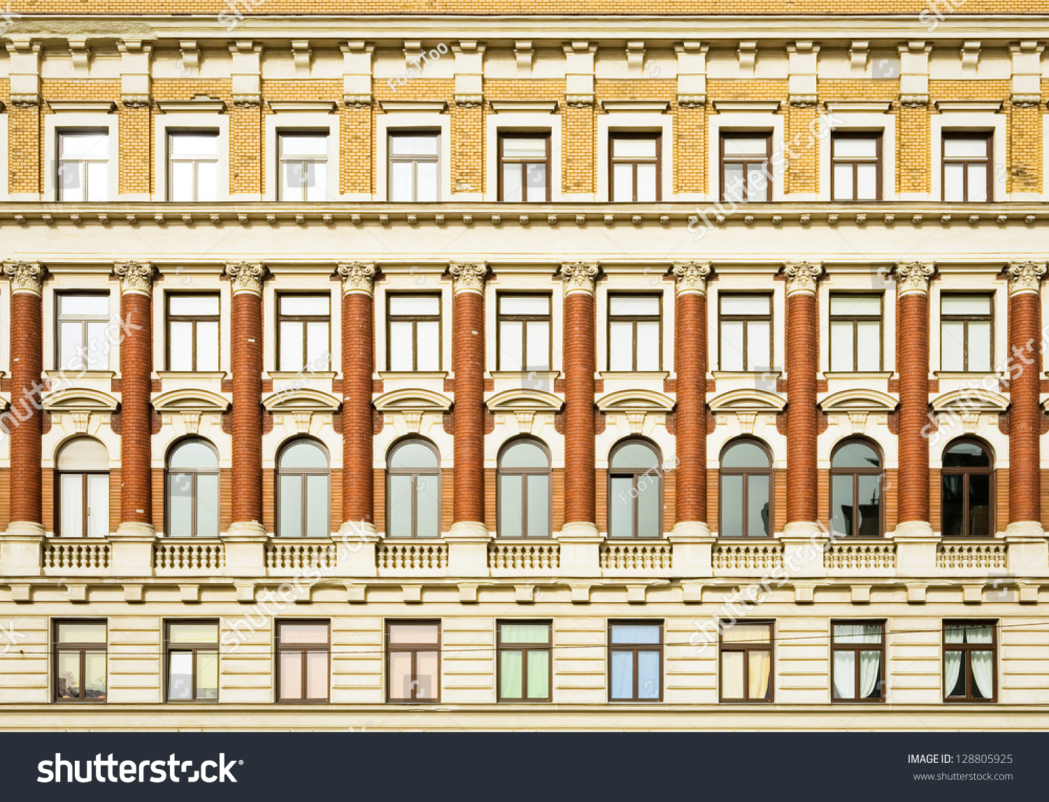 Beautiful old facade historic building stock photo Building facade pictures