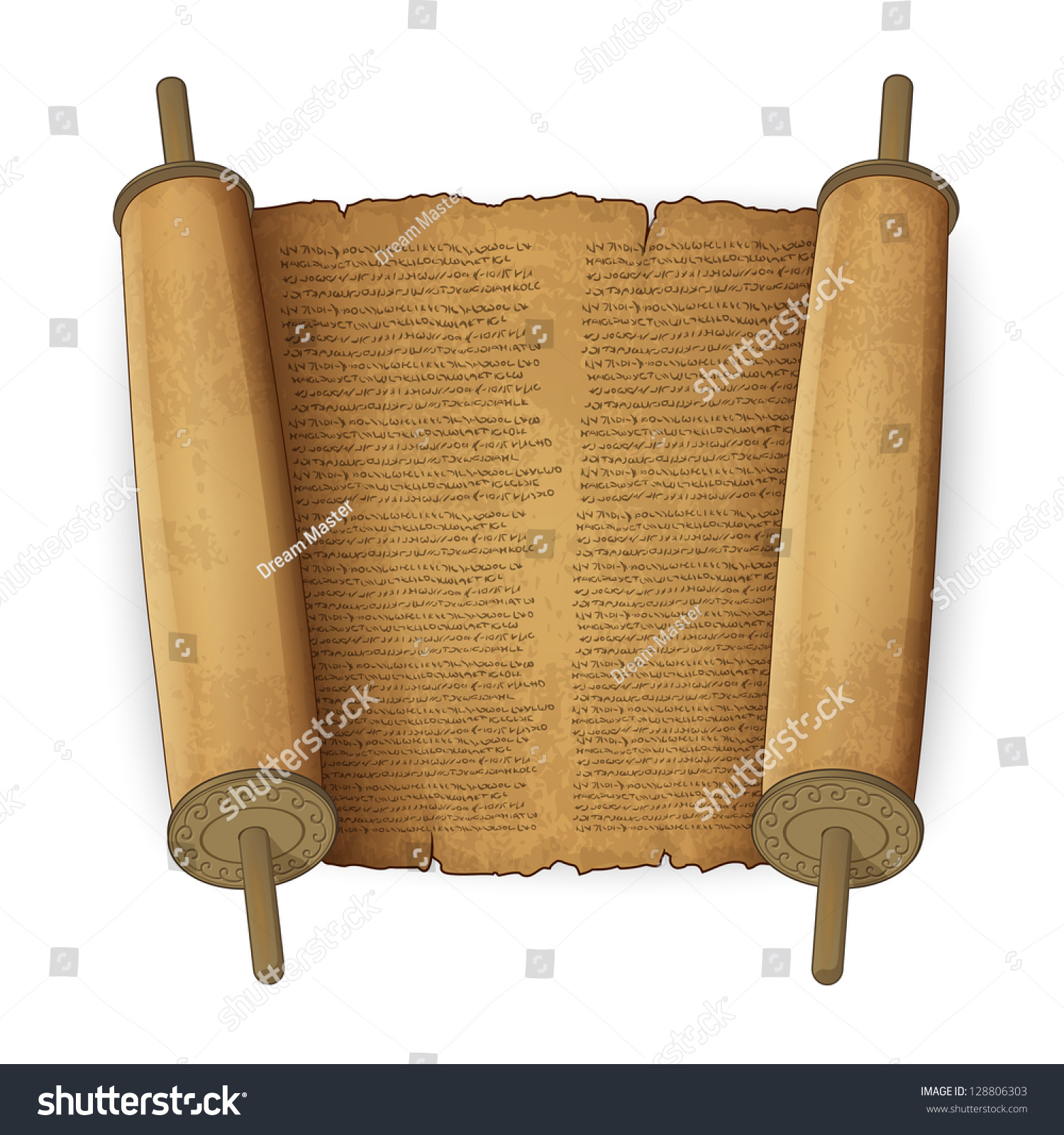 Ancient Scroll: Vector Illustration Of Ancient Scrolls With Text Imitation