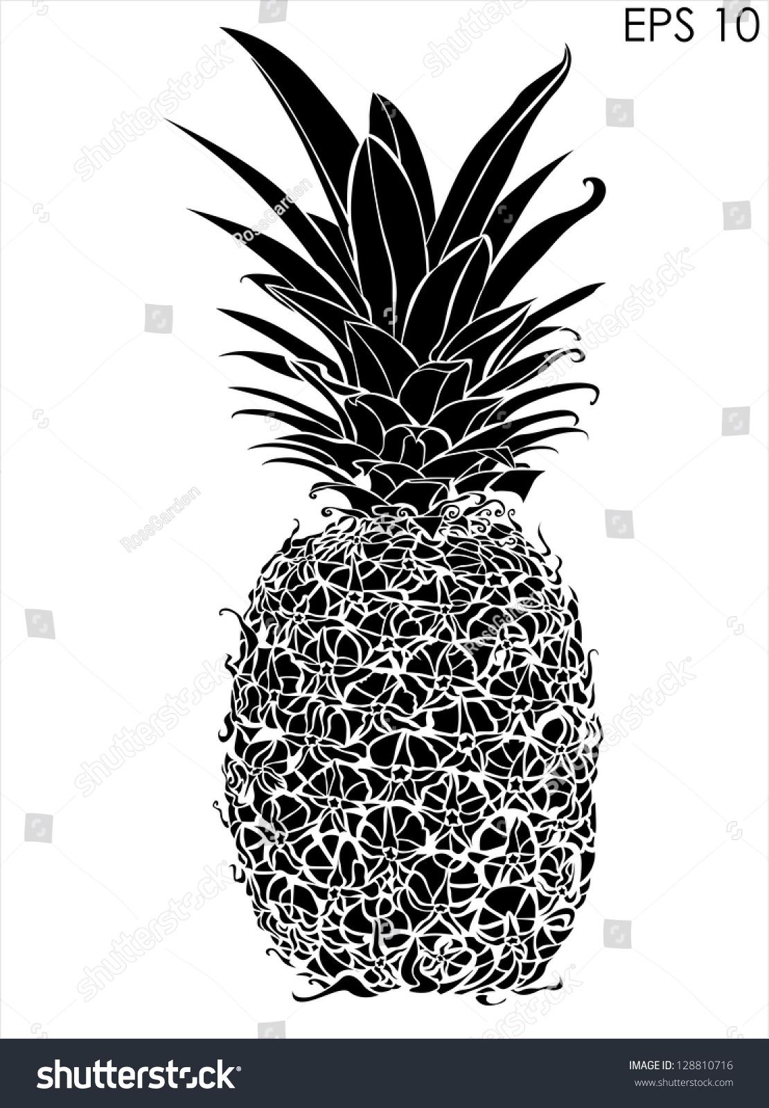 Design Black And White Design pineapple black white design stock vector 128810716 shutterstock and design