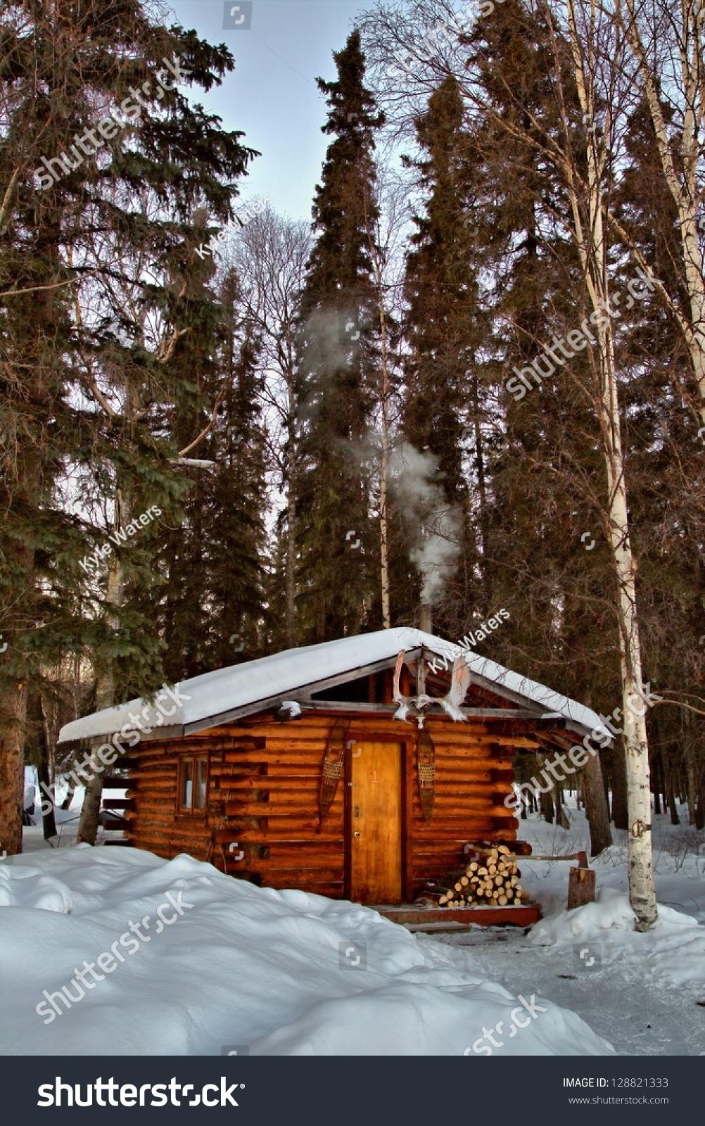 A Remote Cabin In Alaska 39 S Interior Woods Stock Photo