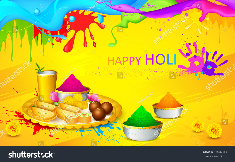 illustration happy holi wallpaper colors sweet stock vector