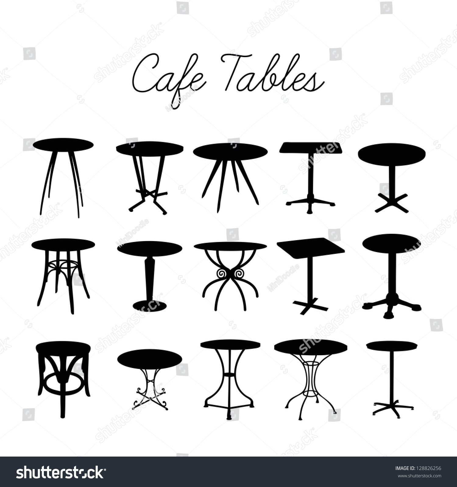Vector cafe table collection silhouette bar stock