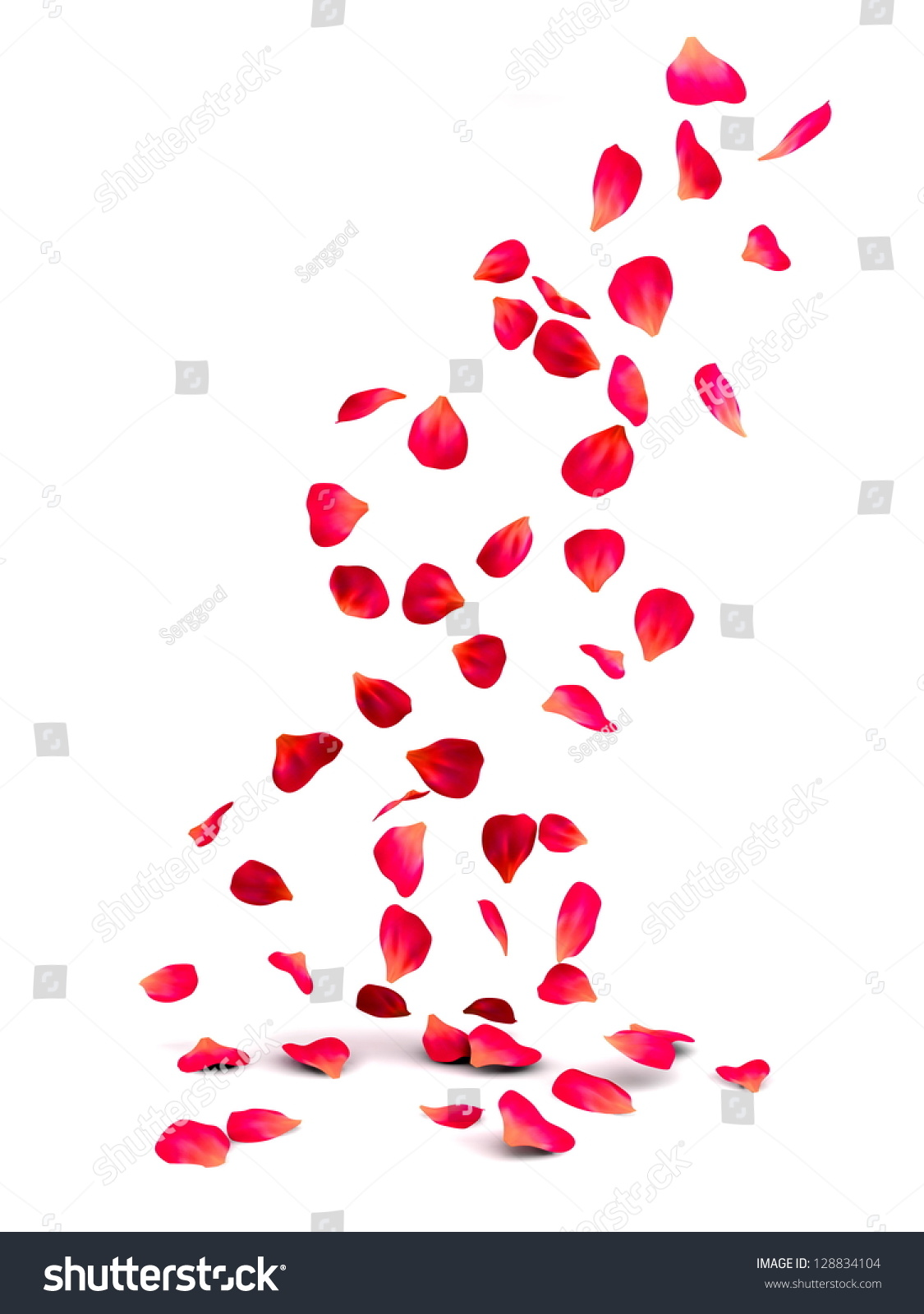Falling Rose Petals Stock Illustration 128834104 ... Petals Falling From A Flower