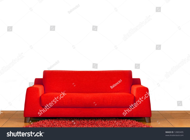 big comfort red sofa in living room stock photo 12883495 shutterstock. Black Bedroom Furniture Sets. Home Design Ideas