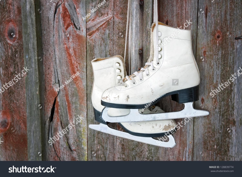 Old Figure Ice Skates Hanging On Stock Photo 128839774 ...