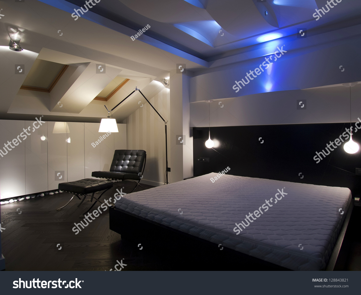 Modern Bedroom Led Lighting Decoration Stock Photo 128843821 ...