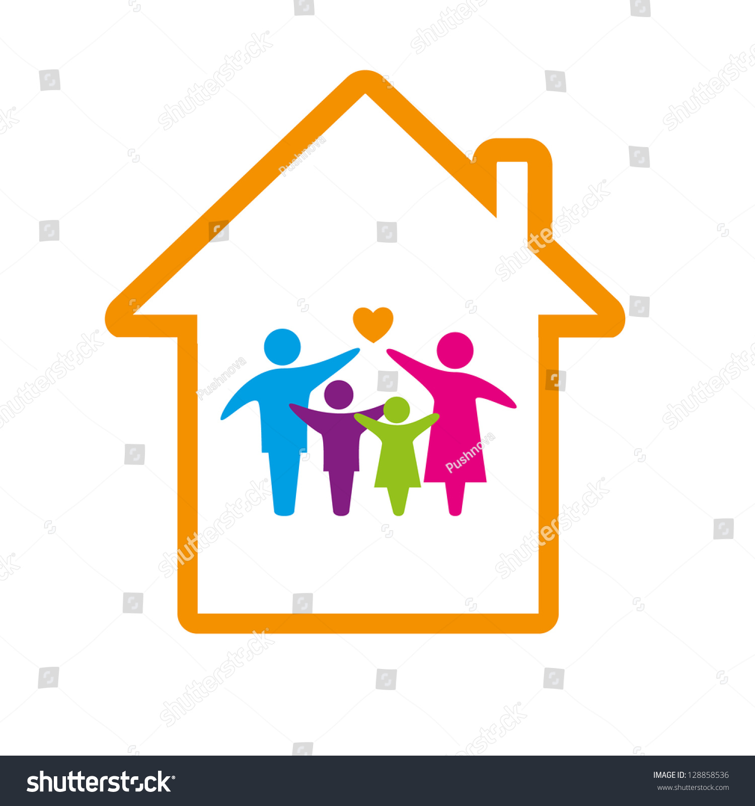 Family Logo Concept. Stock Vector Illustration 128858536 ...