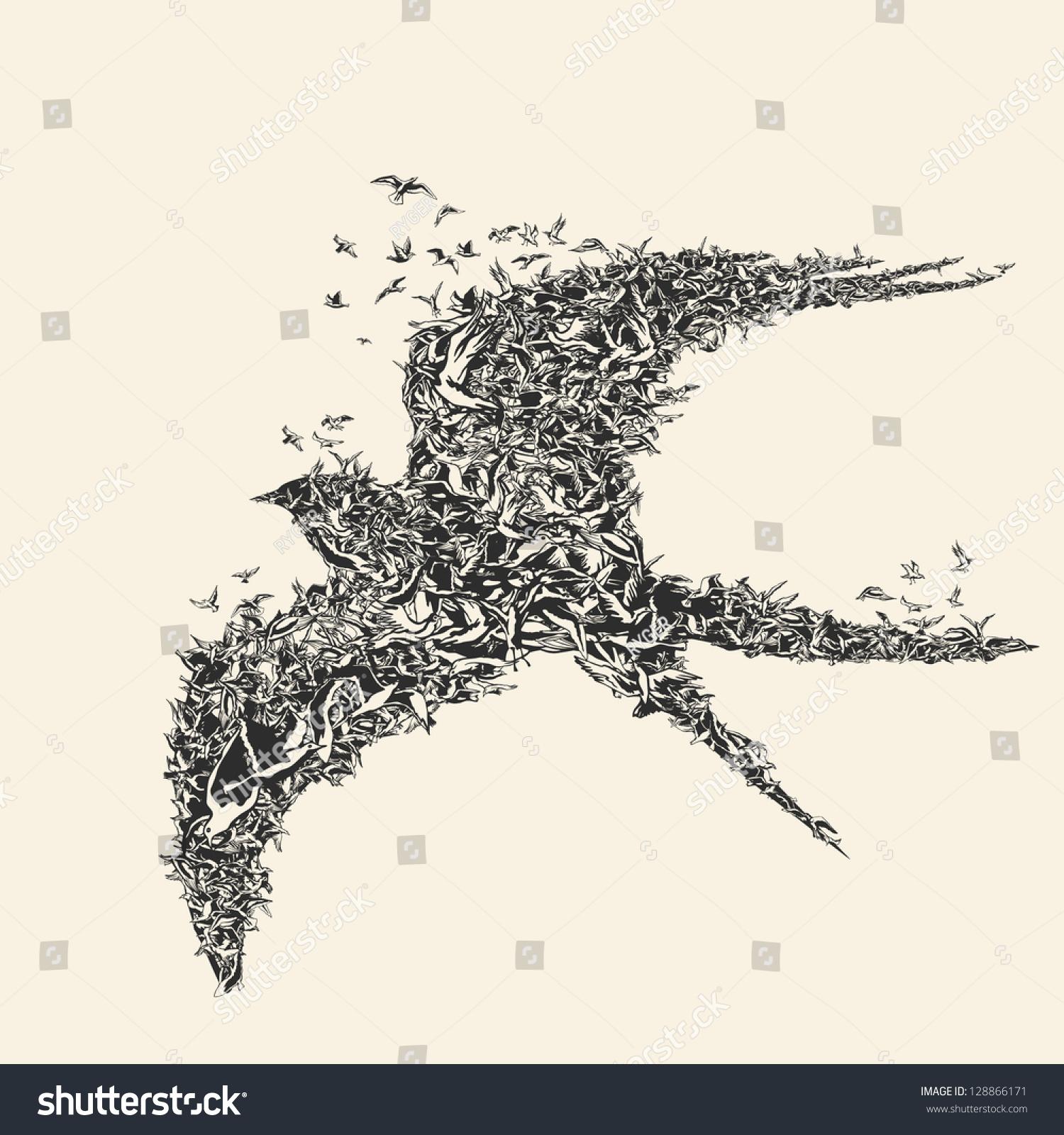 Stock Vector Flock Of Birds In Bird Formation