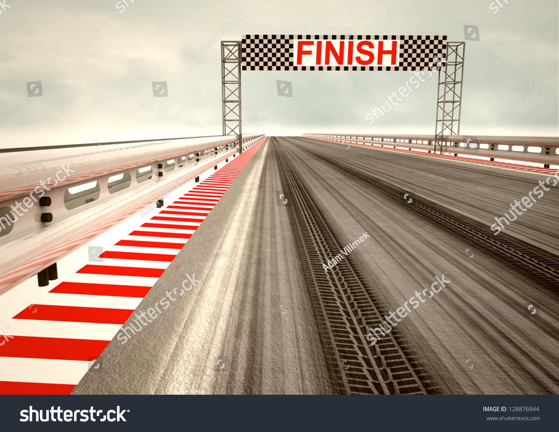 Tyre Drift On Race Circuit Finish Stock Photo 128876944