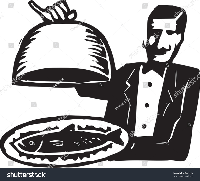 Black White Vector Illustration Waiter Stock Vector ...