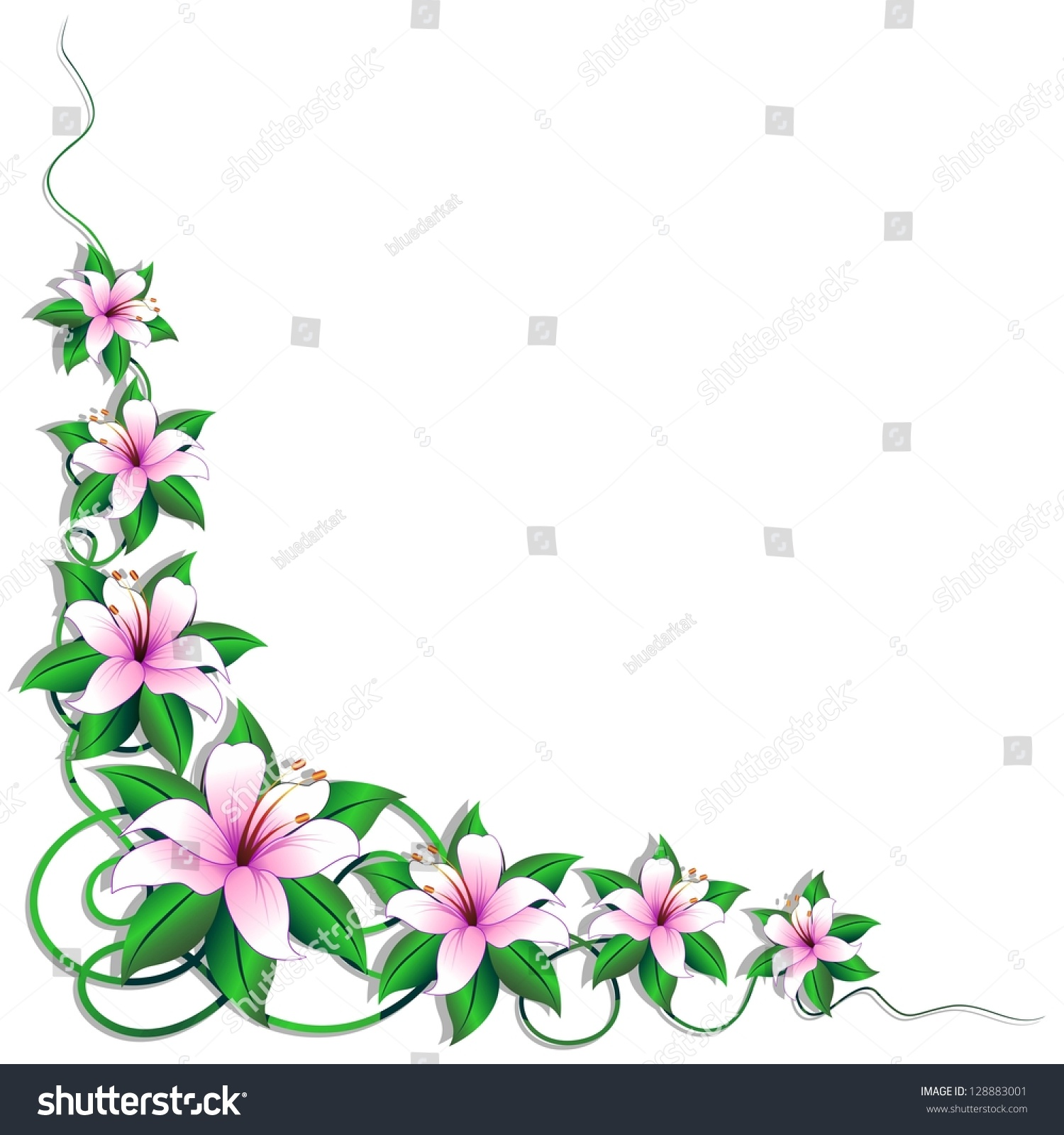 Pink lily flower page corner decoration stock photo for Decoration page