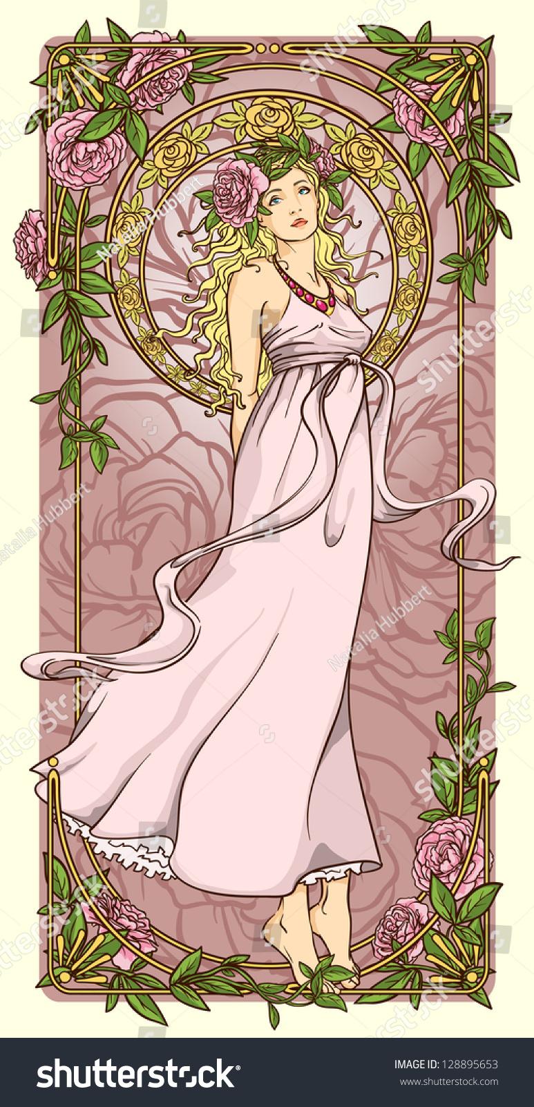 art nouveau woman vertical floral border stock