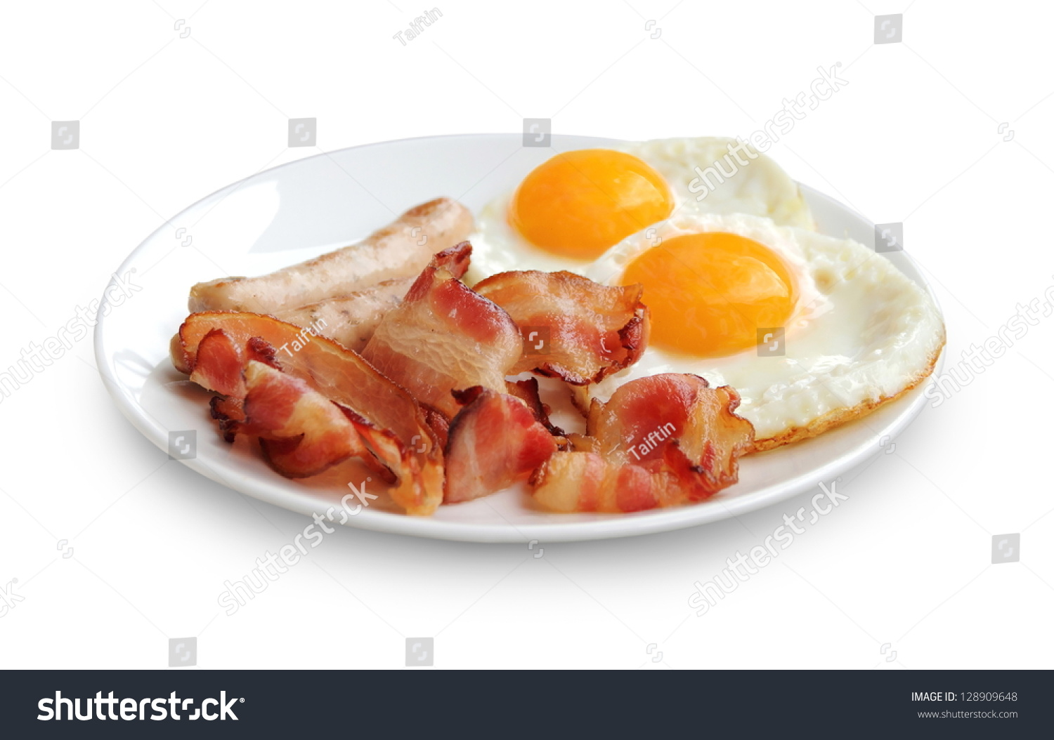 Plate With Fried Eggs, Bacon And Chicken Sausage On White Background ...