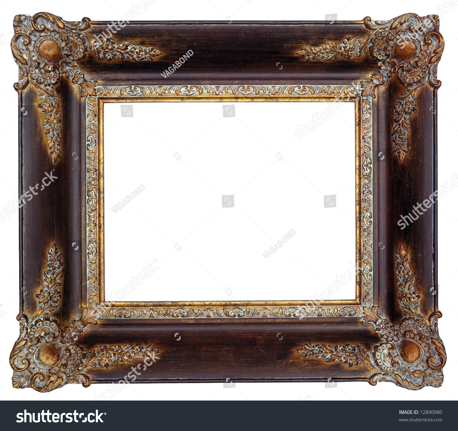 gold square antique picture frame cutout art craft preview save to a lightbox