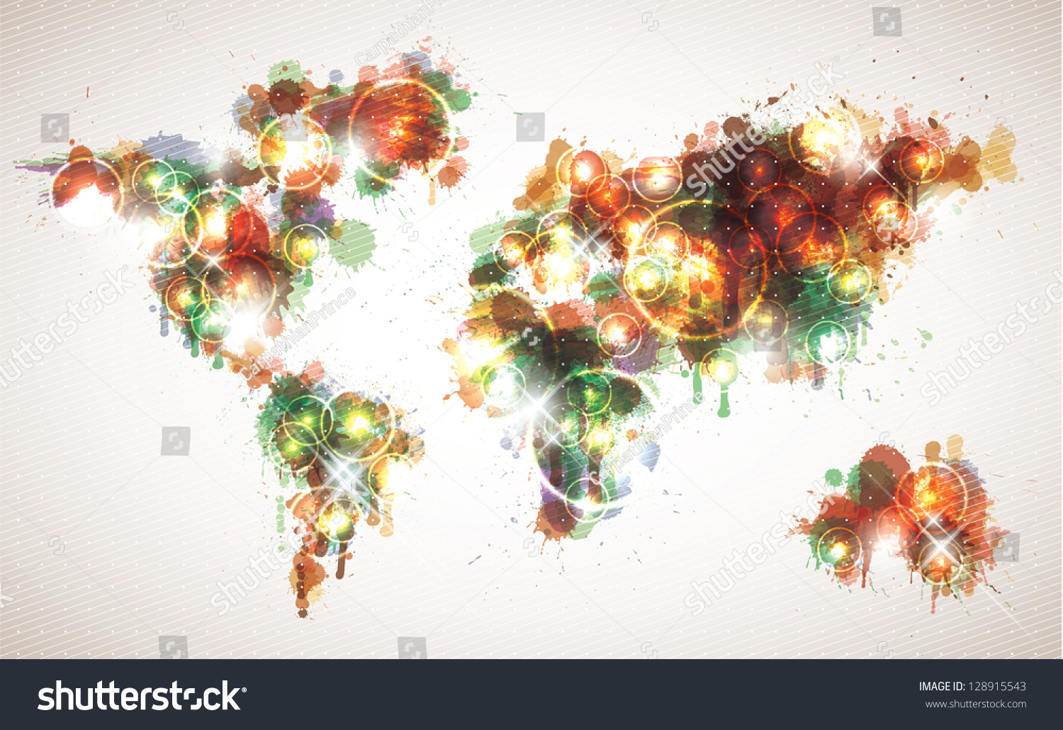 painterly world map done in a warm contemporary color scheme - Contemporary Color Scheme