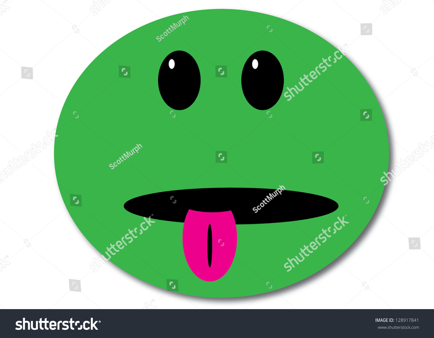 Green Smiley Face Stock Photos: Green Smiley Face With Tongue Sticking Out Stock Photo