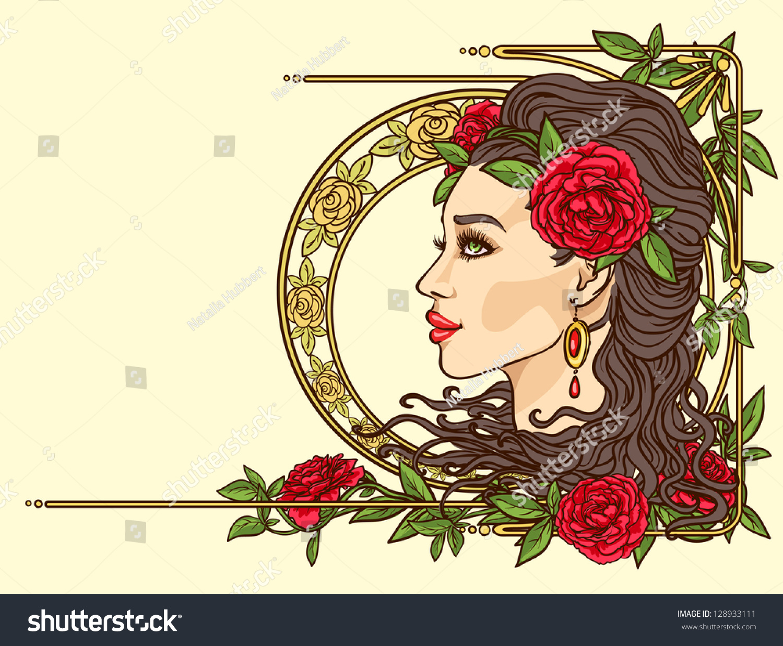 beautiful woman flowers hair art nouveau stock vector