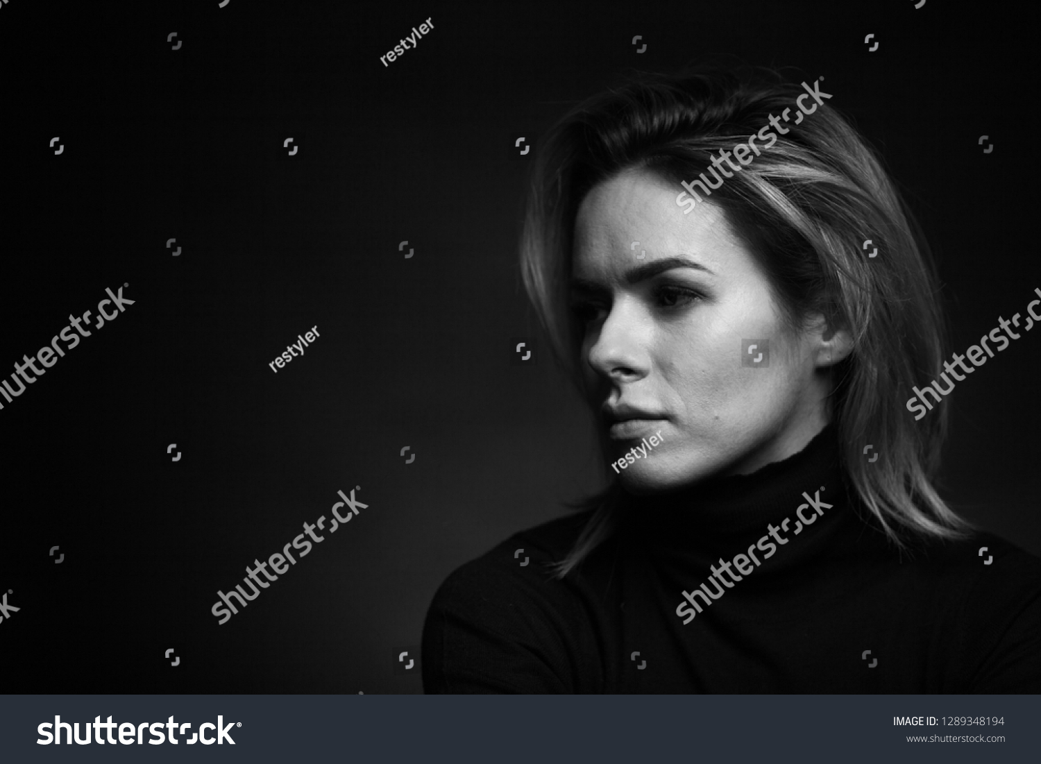 Dramatic black and white portrait of a stock photo 1289348194