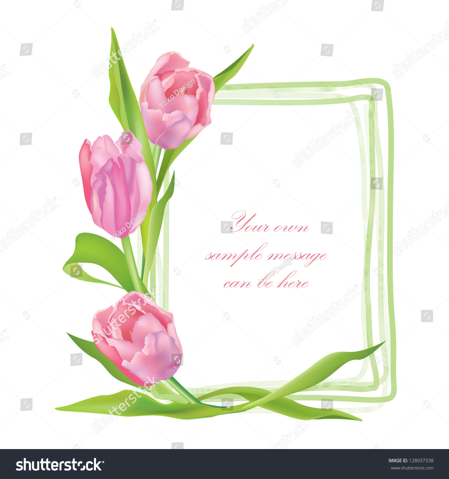 Flower Tulip Background Floral Frame Pink Stock Vector ...