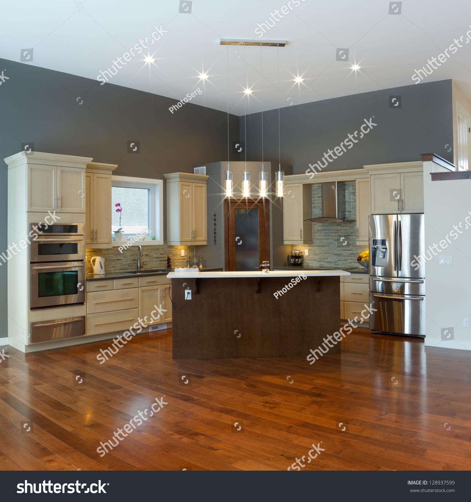 Kitchen Modern Contemporary Interior Design: Interior Design Modern Kitchen Stock Photo 128937599