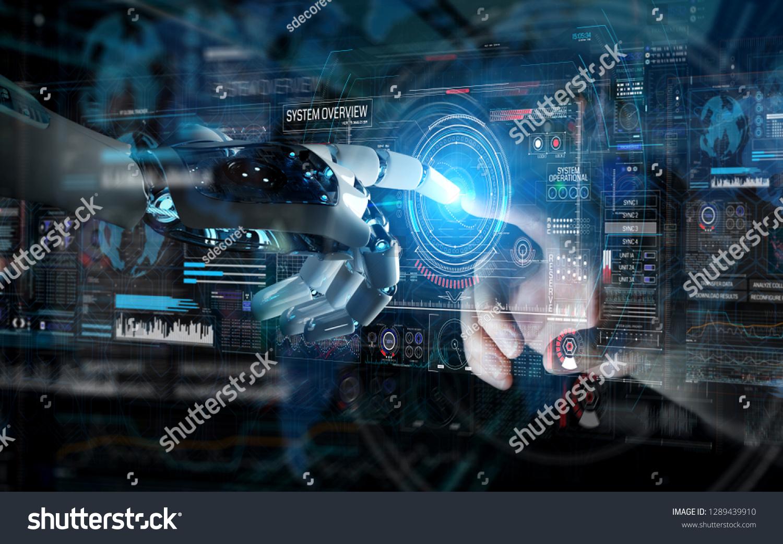 Robot Hand Human Hand Touching Digital Stock Illustration