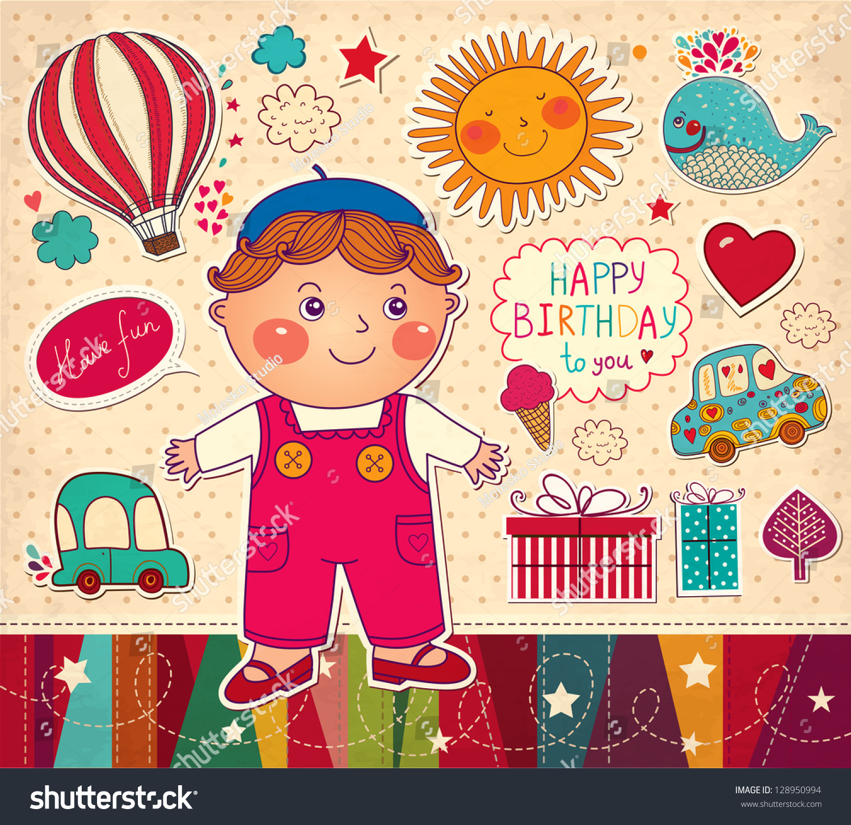 Happy Birthday Card Boy Toys Stock Vector Shutterstock