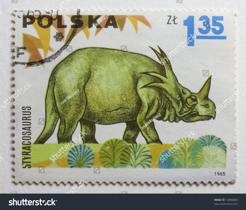 Dinosaur Styracosaurus On Vintage 1965 Canceled Stock Photo