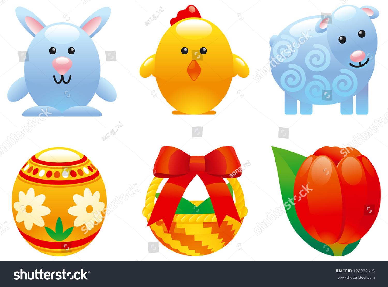 Easter Set. Set Of Cartoon Easter Egg; Easter Bunny