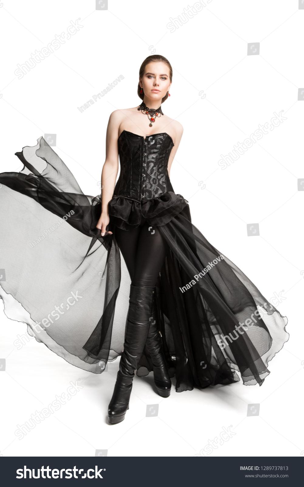Fashion Model Black Corset Dress Leather Stock Photo Edit Now 1289737813