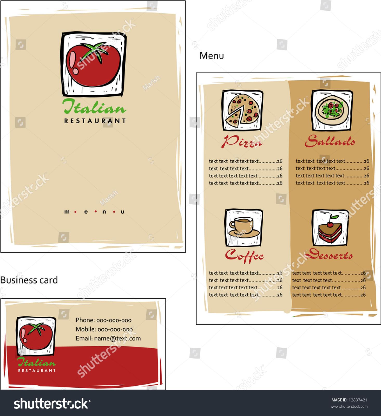 template designs menu business card coffee stock vector