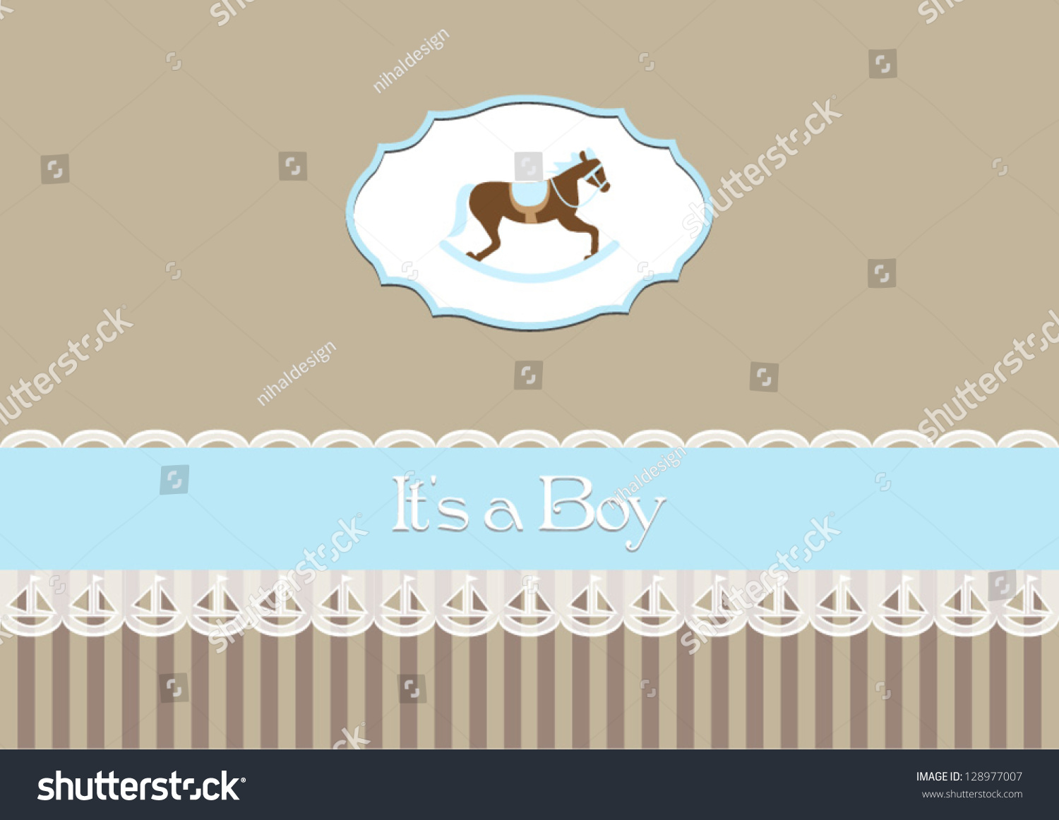 Baby Shower Invitation Baby Boy Rocking Stock Vector 128977007 ...