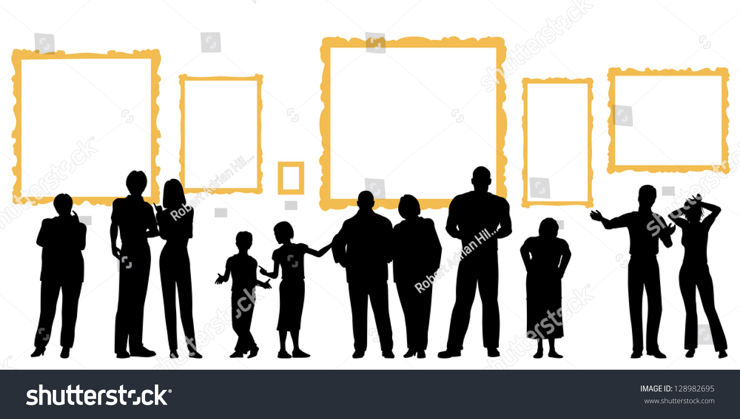 Stock Vector Editable Vector Silhouettes Of Diverse People At An Art G...