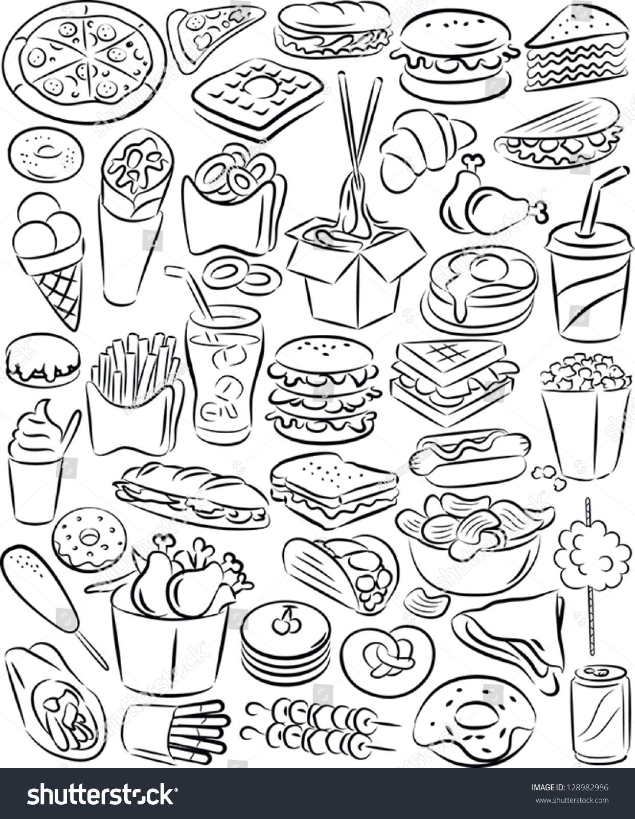 Line Art Food : Vector illustration fast food collection line stock