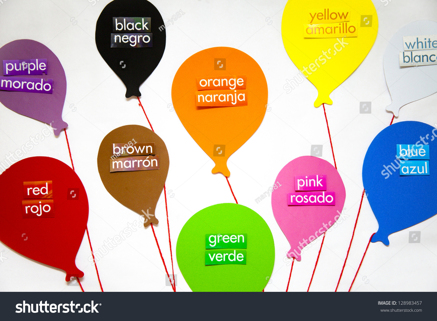 English Spanish Words Each Color Labels Stock Photo 128983457 ...