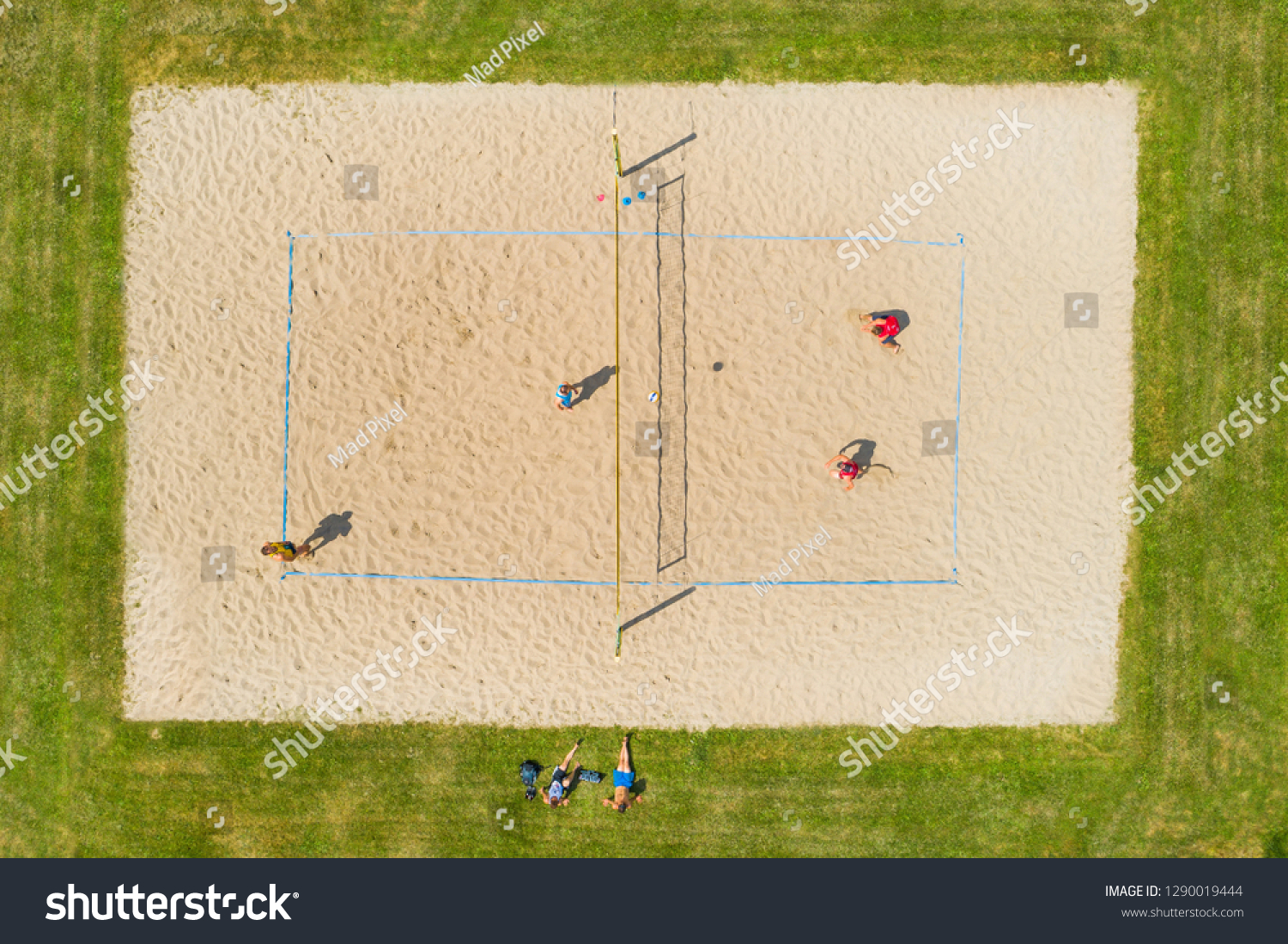 Volleyball Match On Beach Volleyball Court Sports Recreation Stock Image 1290019444