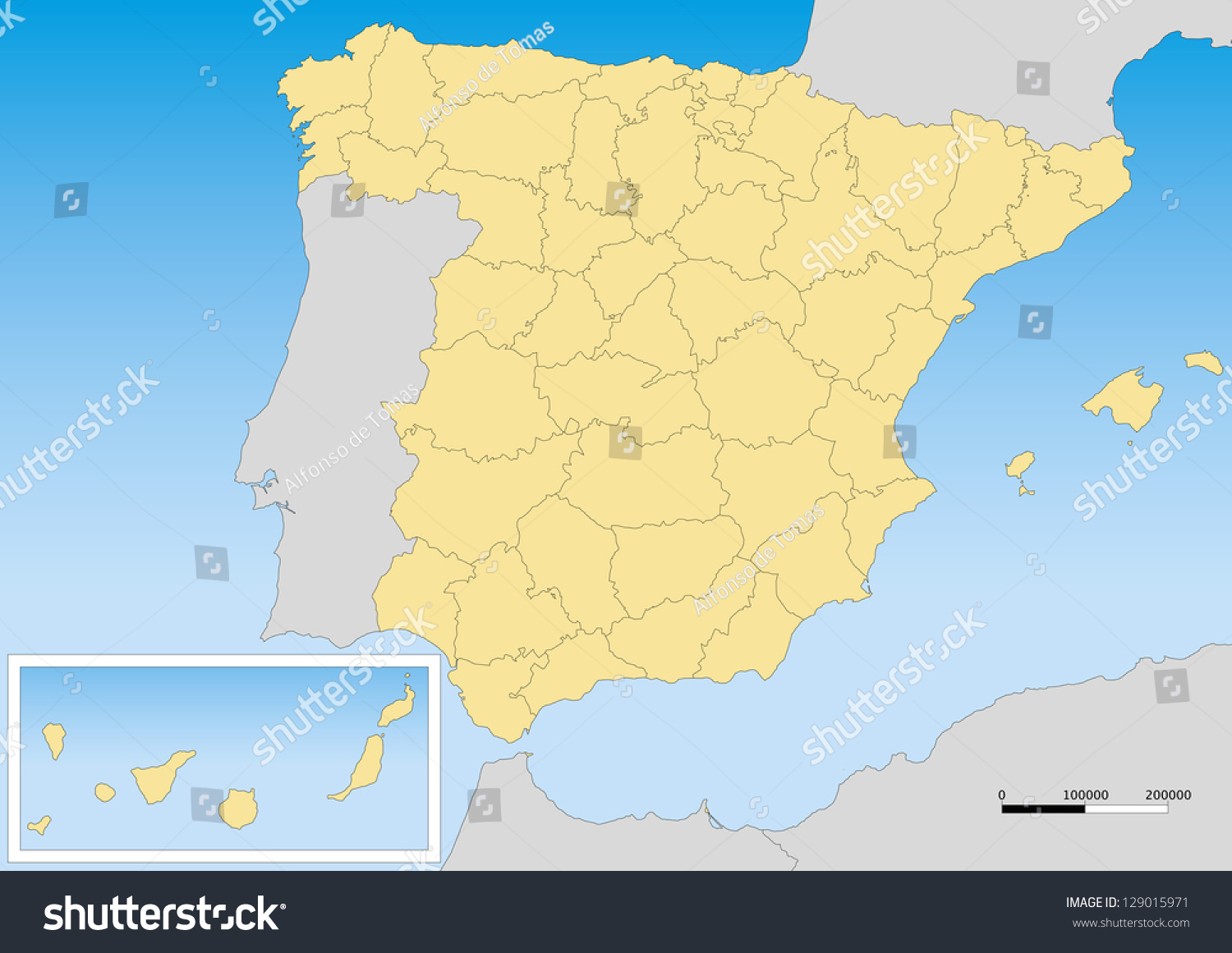 Map Of Spain And Its Islands.Map Spain Provinces Islands Scale 15000000 Stock Vector Royalty