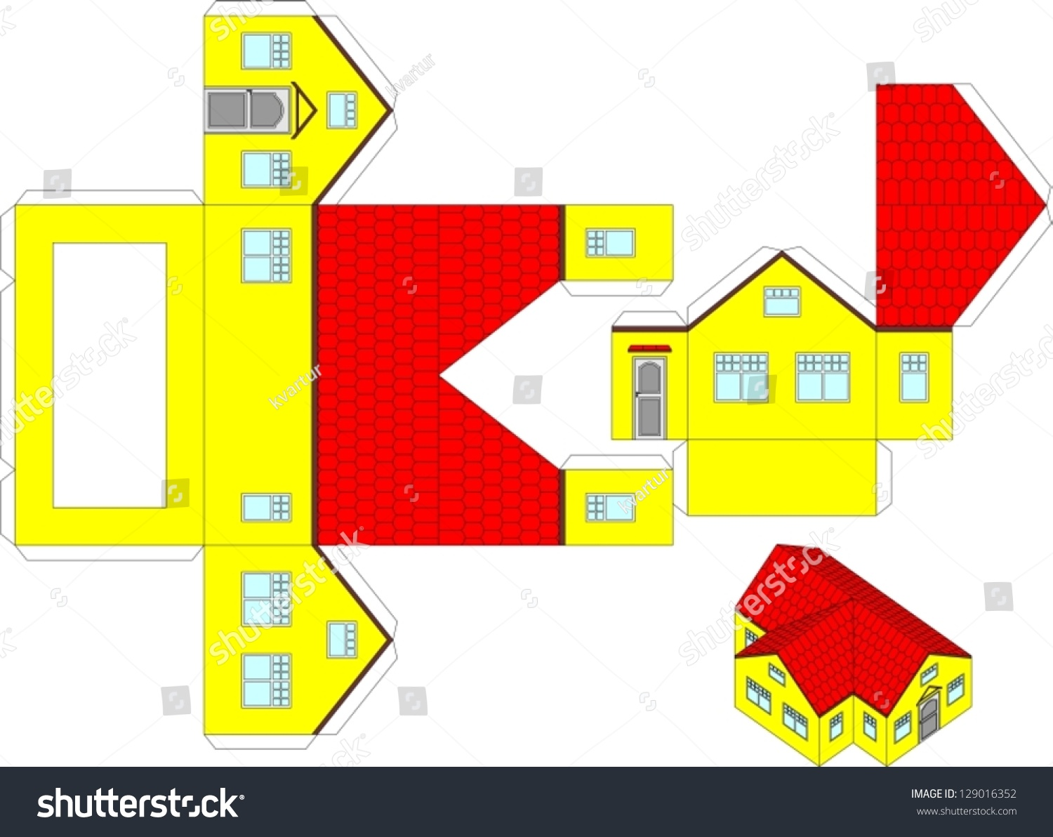 Printable 3d Paper Craft House Stock Vector 129016352 - Shutterstock