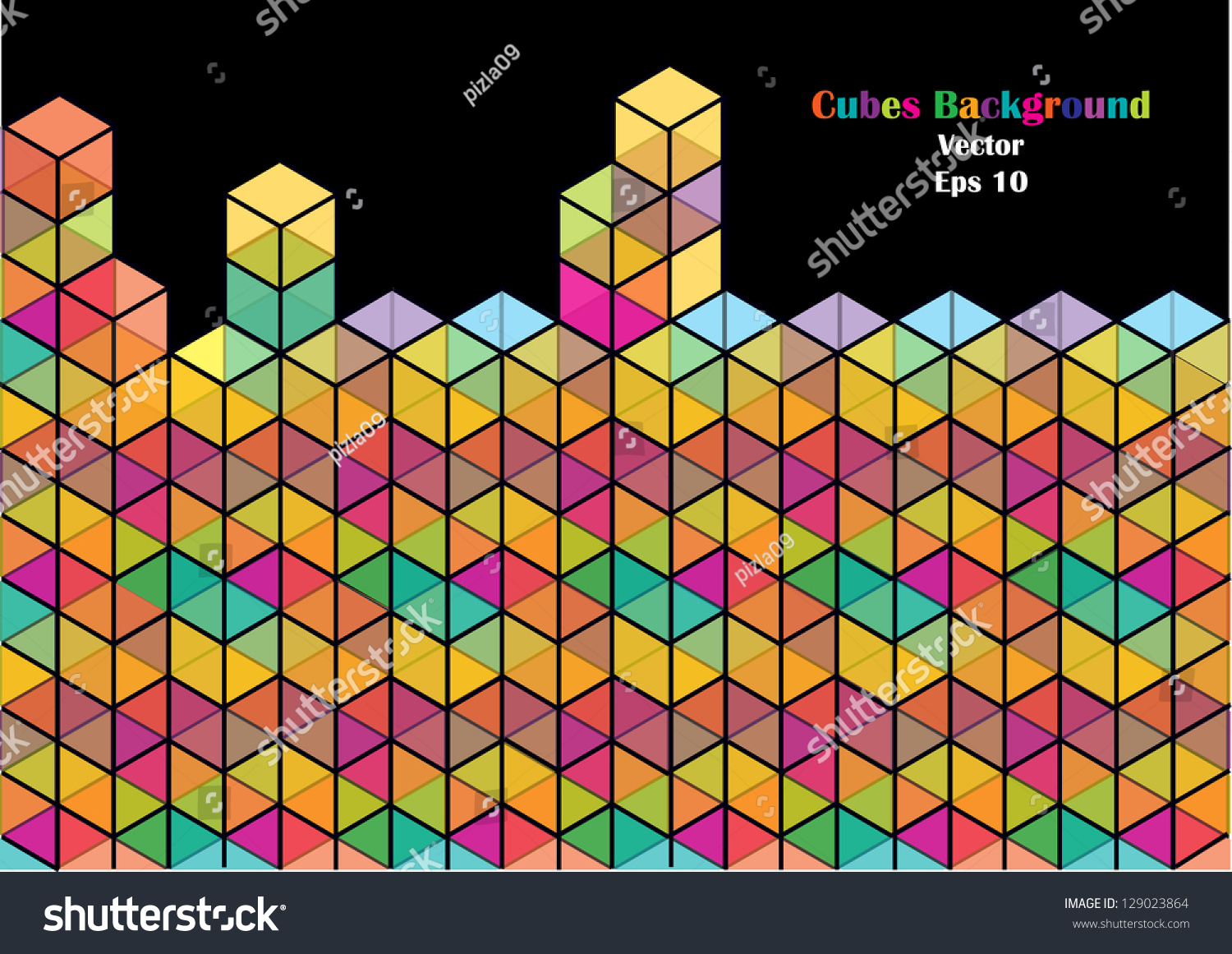 Color Abstract Vector Background Text Frame Stock Vector: Abstract Vector Background Colorful Dimensional Cubes